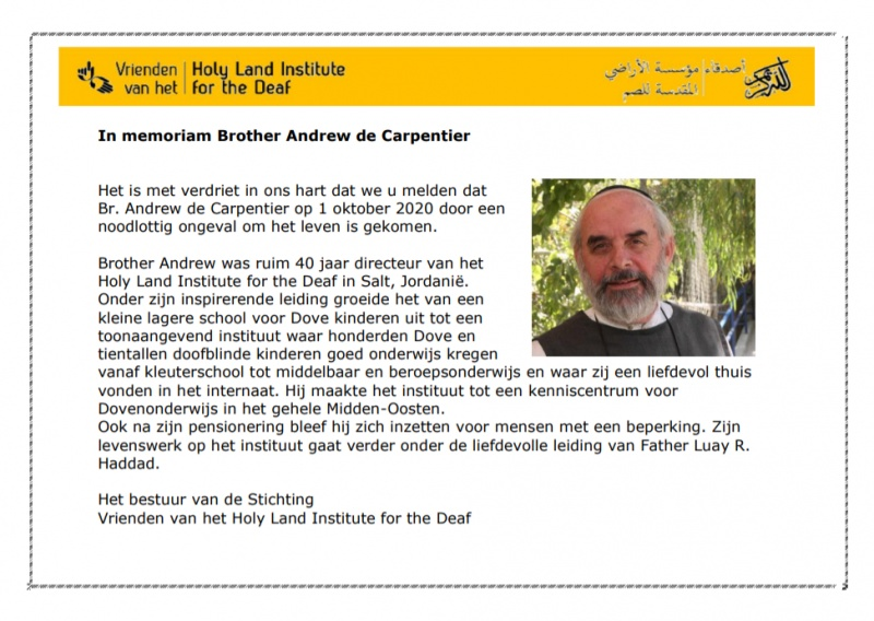 In memoriam Brother Andrew de Carpentier